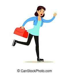 colorito, carattere, illustrazione, flight., tardi, correndo, vettore, valigia, ragazza, cartone animato