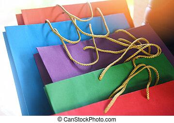 colorito, carta, borse da spesa