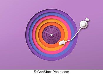 colorito, carta, musica, vinile, disinserimento, giocatore, disco
