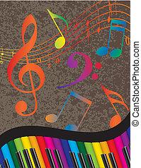colorito, chiavi, nota, ondulato, musica, pianoforte, bordo