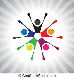 colorito, comunità, amici, anche, gioco, divertimento, vibrante, semplice, friendship-, detenere, vettore, bambini, festeggiare, graphic., lattina, riunione, eccitato, bambini, illustrazione, persone, rappresentare, questo