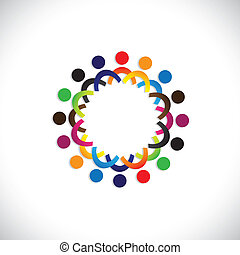 colorito, comunità, concetti, gioco, amicizia, impiegato, persone, sociale, mostra, vettore, &, unioni, diversità, condivisione, icons(symbols)., bambini, lavoratore, illustrazione, graphic-, come, concetto, ecc