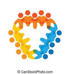colorito, concetti, comunità, gioco, amicizia, impiegato, corporativo, vettore, bambini, &, personale, unioni, diversità, squadre, rappresenta, condivisione, icons(signs)., lavoratore, illustrazione, graphic-, come, concetto, ecc