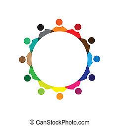 colorito, concetti, comunità, gioco, amicizia, impiegato, ditta, vettore, bambini, &, personale, riunione, unioni, diversità, rappresenta, condivisione, icons(signs)., lavoratore, illustrazione, graphic-, come, concetto, ecc