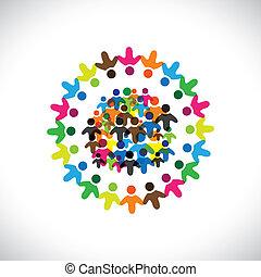 colorito, concetti, comunità, gioco, amicizia, impiegato, persone, sociale, vettore, &, unioni, diversità, rappresenta, condivisione, icons(signs)., rete, bambini, lavoratore, illustrazione, graphic-, come, concetto, ecc