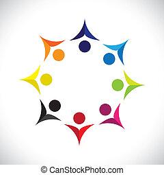 colorito, concetti, comunità, gioco, unito, amicizia, impiegato, gioioso, mostra, vettore, bambini, &, unioni, diversità, icons(signs)., condivisione, bambini, lavoratore, astratto, illustrazione, graphic-, come, concetto, ecc