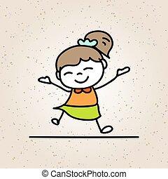 colorito, concetto, gioia, carattere, mano, ragazza, sorriso, cartone animato, felice, disegno, felicità, capretto