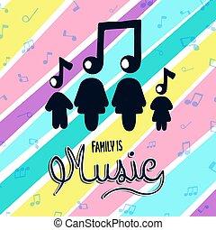 colorito, concetto, musica, famiglia, nota, musicale