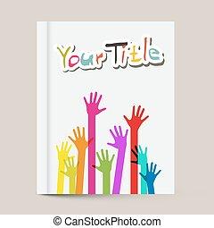colorito, coperchio, libro, disegno, sagoma, mani, opuscolo, o