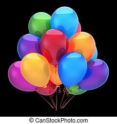colorito, decorazione, compleanno, palloni, festa, elio, felice