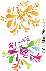 colorito, -, due, turbine, disegno, arancia