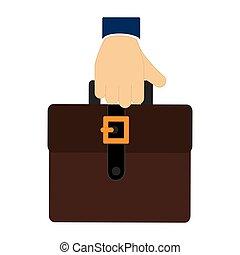 colorito, esecutivo, titolo portafoglio mano, valigia, icona