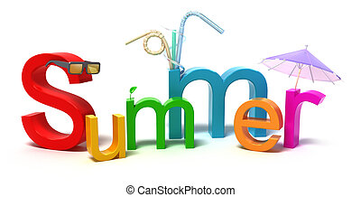 colorito, estate, parola, lettere