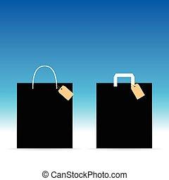 colorito, etichetta, esso, illustrazione, borsa, carta