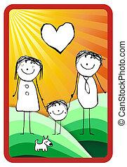 colorito, famiglia, illustrazione, felice