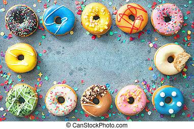 colorito, festivo, vario, carnevale, cornice, o, donuts, compleanno