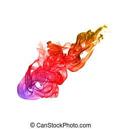 colorito, fiamme, fuoco, astratto, fondo, bianco