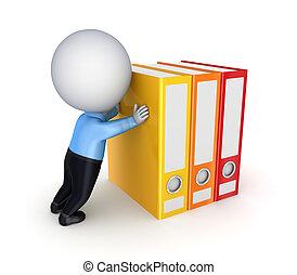 colorito, folders., spinta, persona, 3d, piccolo