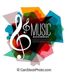 colorito, geometrico, musica, tema, fondo