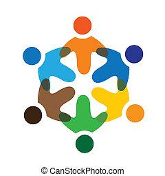 colorito, gioco, concetti, comunità, gioco, amicizia, impiegato, vettore, bambini, &, scuola, unioni, diversità, rappresenta, condivisione, icons(signs)., lavoratore, bambini, illustrazione, graphic-, come, concetto, ecc