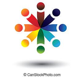colorito, gioco, vettore, cerchio, concetto, bambini, scuola