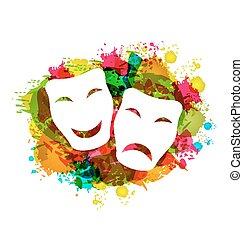 colorito, grunge, maschere, carnevale, semplice, tragedia, commedia