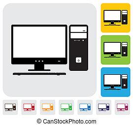 colorito, ha, utile, semplice, cpu, computer, vettore, &, verde, desktop, graphic., keyboard-, documenti, stampa, schermo, icone, sfondi, arancia, blu, illustrazione, blogs, siti web, ecc