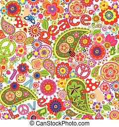 colorito, hippie, infantile, carta da parati