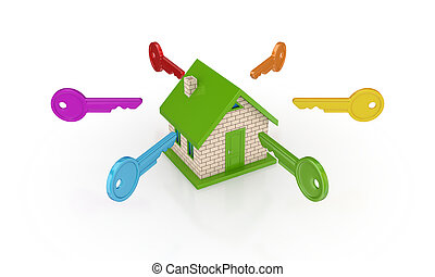 colorito, house., chiavi, intorno, piccolo