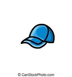 colorito, icona, vettore, berretto, illustrazione, casuale