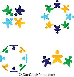 colorito, icone, multicultural, insieme, squadre, connettere