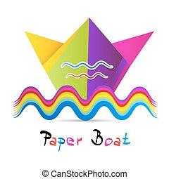 colorito, isolato, carta, fondo, bianco, barca
