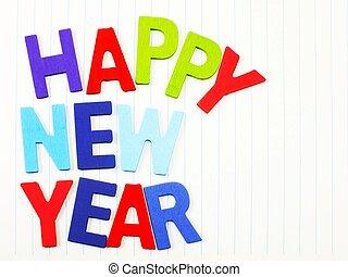 colorito, legno, alfabeto, carta quaderno, fondo, anno, nuovo, felice