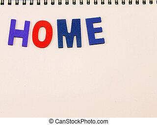 colorito, legno, alfabeto, carta quaderno, fondo, casa