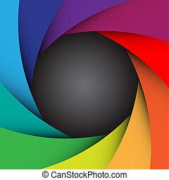 colorito, macchina fotografica, illustrazione, eps10, otturatore, fondo