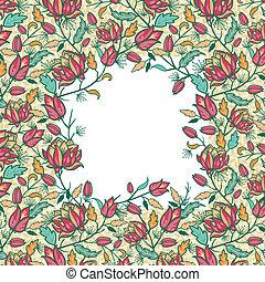 colorito, modello, foglie, seamless, fiori, bordo, cornice