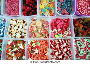 colorito, modello, gelatina, caramella, dolci, scatole