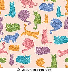 colorito, modello, seamless, silhouette, gatti, fondo