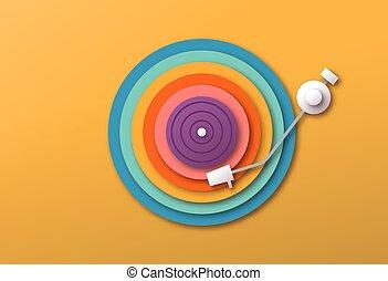 colorito, musica, papercut, vinile, giocatore, disco