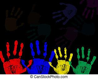 colorito, nero, isolato, stampe, mano