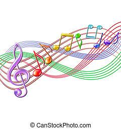 colorito, note, white., fondo, personale musicale