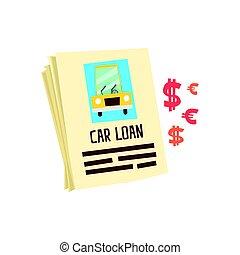 colorito, prestito automobile, form., illustrazione, domanda, vettore, cartone animato