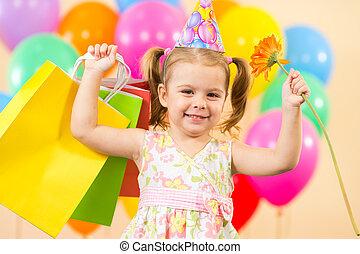 colorito, regali, compleanno, carino, bambino, ragazza festa, palloni