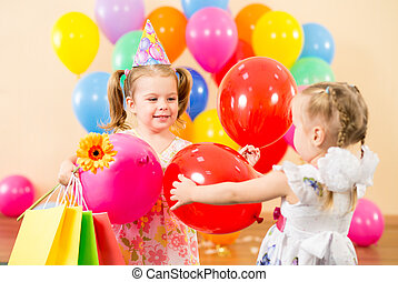 colorito, regali, compleanno, carino, festa, palloni, bambini
