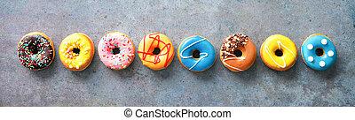 colorito, rustical, vario, fila, donuts, fondo