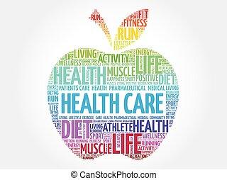 colorito, salute, mela, cura