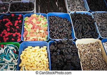 colorito, shop., gelatina, caramella, dolci, mostra