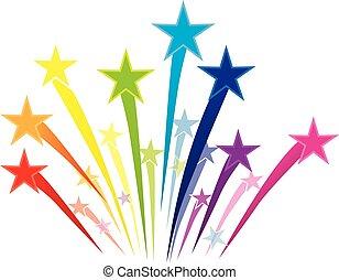 colorito, stelle, riprese, logotipo
