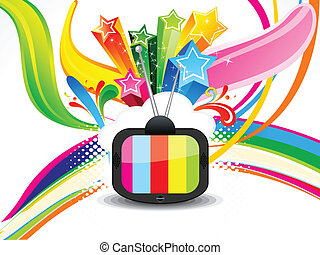 colorito, televisione, astratto