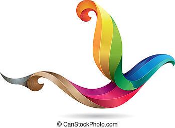 colorito, uccello, illustrazione